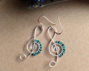 Treble Clef Silver Wire Earrings - Musical Jewelry