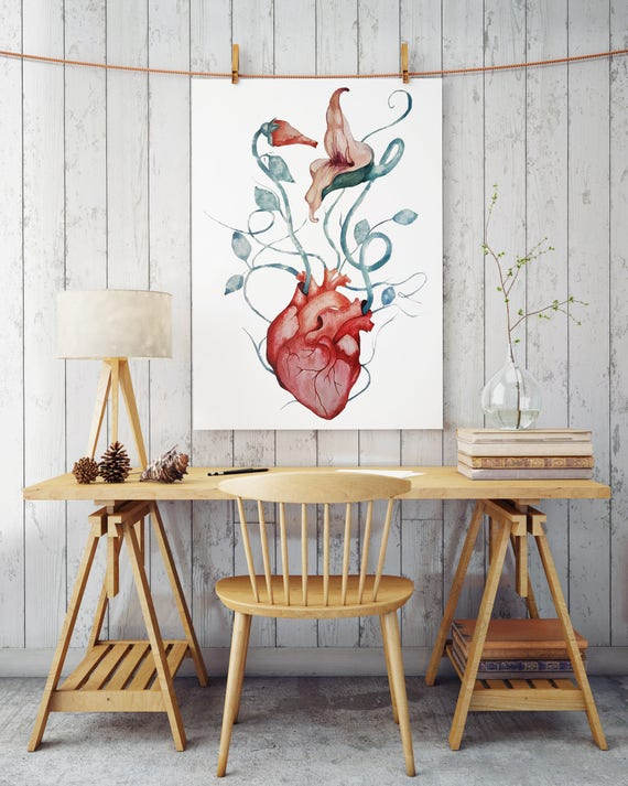 Pink Floyd The Wall Flowers | Archival Paper poster | Wall decor | Rock music fan art gift | Watercolor painting | Anatomical heart