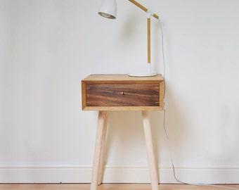 Retro Bedside Table Scandinavian Style Night Stand Mid-century Oak Bed Side Table Vintage Walnut Bedroom Furniture