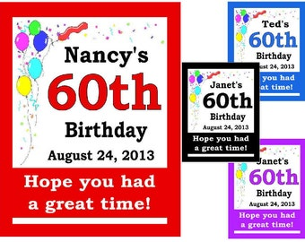 15 ~ 60th Birthday Party Favors Personalized MAGNETS ~ FREE SHIPPING