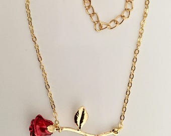 Gift women, teens, necklace, red rose flower pendant on chain golden colored chain. Gift ideal for MOM or for yourself