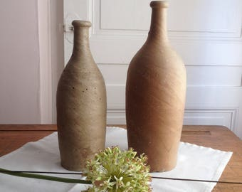 Vintage french stoneware bottle. Provence pottery. Stoneware vintage vase. French restaurant bottles. Terracotta