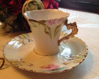 Gorgeous Vintage Pale Yellow with Iris Demitasse/Teacup/Mini Teacup and Saucer