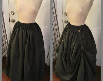 long skirt peasant cotton renaissance pirate SCA w optional matching skirt hikes black