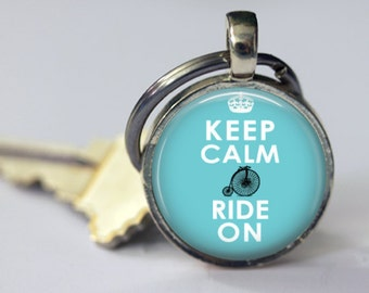 Keep Calm and Ride On Pendant, Necklace or Key Chain - Choice of Silver, Bronze, Copper or Black - Bike riding, Bicycles