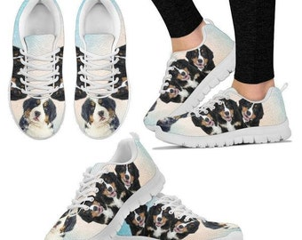 Three Bernese Mountain Dog Print Running Shoes For Women