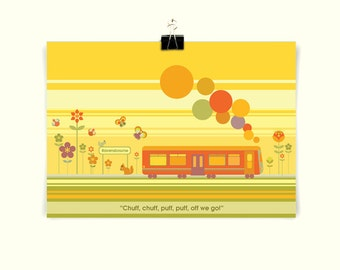 TRAIN - Children's / kid's / baby's personalised print - Children's wall art - Baby's bedroom wall art - Child's gift