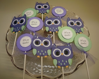 It's a Girl Owl Cupcake Toppers