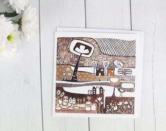 Beige Mid Century design Cards, Landscape Block Print, Illustrations Greeting Cards Set, Blank Thank You Cards, Linoprint Birthday Card,