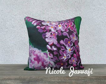 Lilacs in Bloom 18x18 decorative pillow case