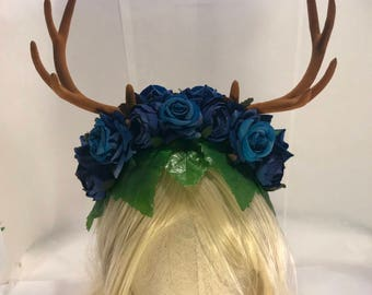 Deer antlers forest goddess horned faun festival headdress floral rose fawn woodland elf fantasy antler horn crown