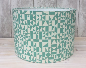 Duckegg Blue Geometric Fabric Covered Lampshade