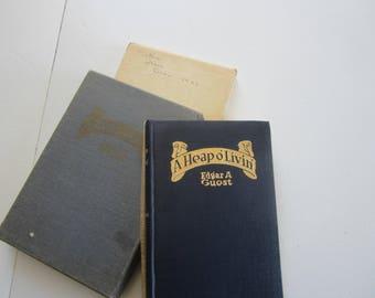 antique book, 1916 copyright, Edgar A. Guest, 1916 book of verse, family values, gift book, antique poetry book, A Heap o' Livin'