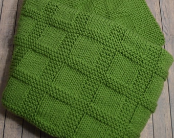 Handmade Baby Blanket Knitted in Tea Leaf Green – Shipping Included