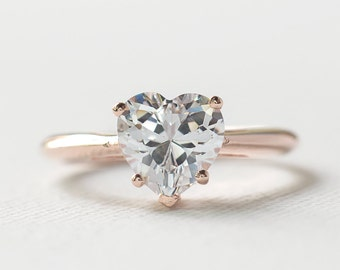Rose Gold Engagement Ring - Rose Gold Heart Shaped Ring - 925 Heart Shaped Engagement Ring - Solitaire Diamond CZ Ring - Valentine's Ring