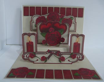 Red Hearts and Roses Pop Up Shelf Card