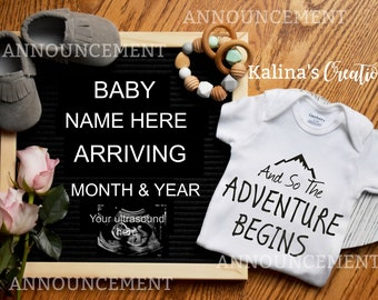 Letter Board Digital Pregnancy Announcement