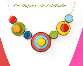 Handcrafted ceramic - 'confetti' necklace multicolor model 1