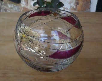 Stained Glass Rose Bowl
