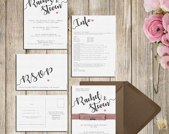 Decorative Wedding Invitations, RSVPs or Information Cards with Pink Hearts