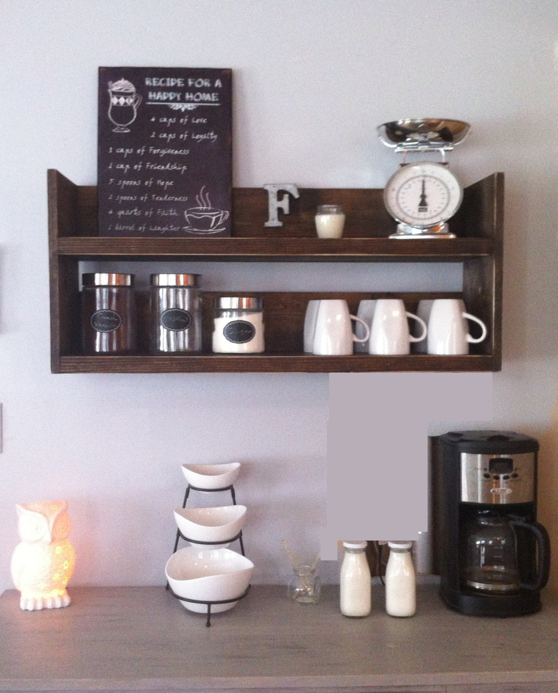Rustic kitchen shelf coffee shelf coffee bar shelf