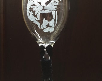Personalised  glass engraved tiger wine glass custom gift