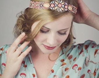 Lady Cora Beaded Coral Lace Headband