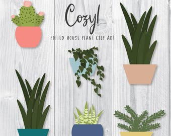 Plant Clipart, Cautus and succulents clipart, Vector Plants, digital clip art, instant download, commercial use, digital download, plant PNG