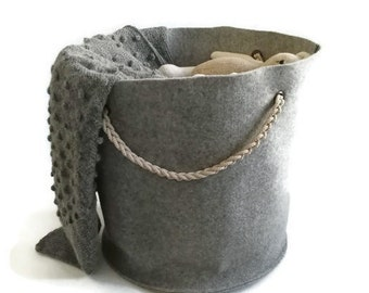 storage basket-basket-storage bin-toy storage-nursery storage-toy storage bin-laundry basket-storage box-toy-kids room-gray-wool basket-kids