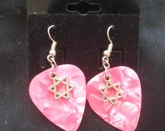 Star of David and Pink Guitar Pick Earrings, Star of David Jewelry, Guitar Pick Earrings, Star of David Jewelry