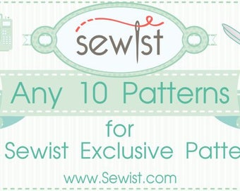 Any 10 PDF Sewing Patterns, Custom Size