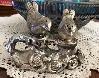 Vintage Silver Plated Bird Themed Salt and Pepper Shakers