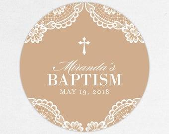 Baptism Favor Tag, Baptism Favor Label, Christening Favor Tag, Christening Favor Label, Printed, Floral, Damask, Lace, Girl, Kraft, Miranda