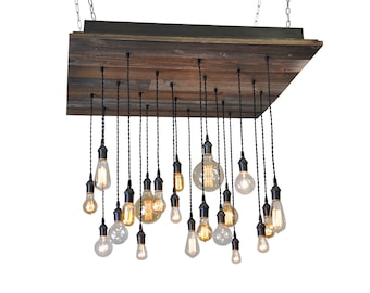 Reclaimed Wood Chandelier - Bare Bulb Chandelier with Edison Bulbs, Rustic Dining Room Chandelier, Edison Bulb Lighting