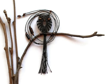 Seal Brown Macrame Owl Necklace - Pretty Long Necklace, Pendant, Women Jewelry, Micro Macrame, Nylon Cord, Textile Jewelry, Cute Necklace