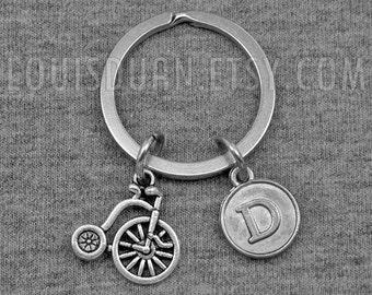 Bike Key chain -Bicycle Keychain -Cycling Keychain -Initial Keychain -Your Choice of A to Z