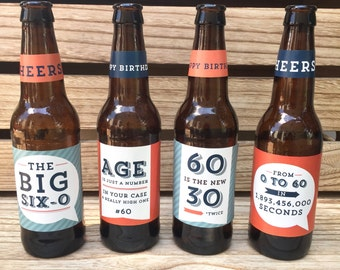 60th Birthday Gift, Custom Beer Bottle Labels, Cheers and Beers to 60 Years, Birthday Card Funny, Gift for Men, Birthday Sticker
