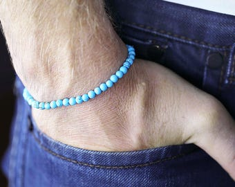 Nautical Men's Bracelet Turquoise Blue Natural Gemstone Gift by VERO for SeaStyle