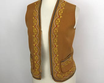 Vintage waistcoat, vintage vest, boho, 1970s, mustard, wool, embroidered, Afghan embroidery, festival bohemian hippie UK 10 12 damaged