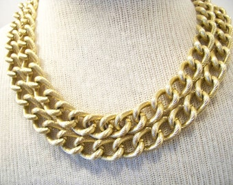 70s Vintage JAPAN Chunky Textured Large Curb Link Chain  Gold Tone Aluminum Jewelry