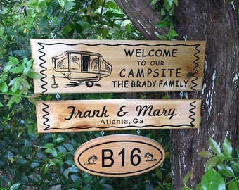 Personalized Custom Made Carved Family and Last Name Seasonal Camping Cedar Wood Sign / Plaque