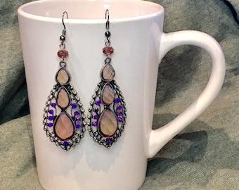 Pink & Purple Teardrop Earrings