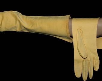 Vintage Gloves//Gold//Three Quarter Length Gloves//Nylon Cotton// Pinup Bombshell Hollywood // Art Deco Wedding //