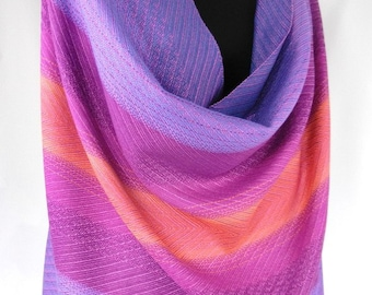 Handwoven Shawl Wrap, Winter Sunset Colors