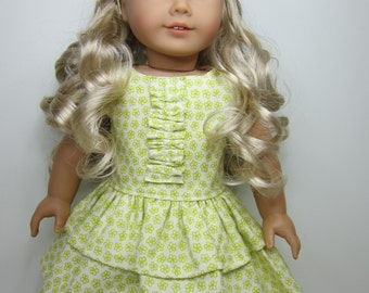 American Girl doll clothes-  lime green flowered party dress and headband with bow.