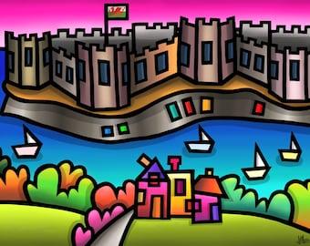 Caernarfon Castle - colourful fine art print by Amanda Hone
