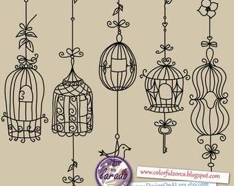 Bird Cage Clipart Rustic Wedding Digital Cages Shabby Chic Vintage