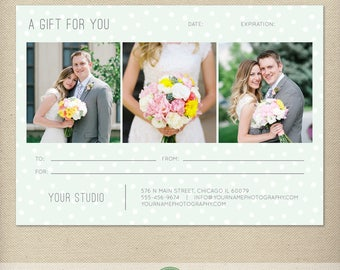 5x7 Digital or Print Gift Certificate Template, Gift Card, Photography Gift Certificate, One-Side Gift Certificate, Single-Side - GC3