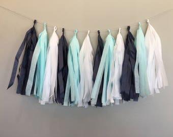 Blue Ombre Garland Tissue Tassels