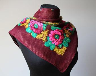 Vintage shawl.Russian Shawl.Floral scarf.Scarf.Wedding shawl.Vintage shawl.Burgundy Flower Shawl.Floral shawl.Russian scarf shawl.Polyacryl.